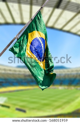 Brazilian flag on the stadium - stock photo