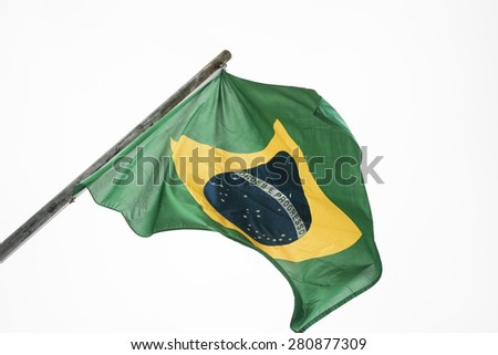 Brazilian flag waving on pole with readable text