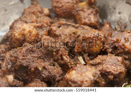 Brazilian food, rabada, cooked oxtail meat