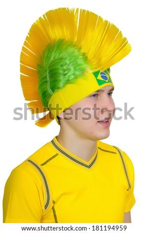 Brazilian football fan headdress Indian tribe Iroquois - stock photo