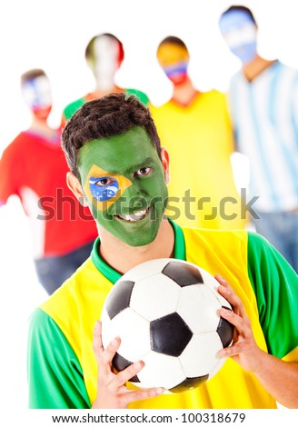 Brazilian football fan leading a Latinamerican group - isolated over a white background - stock photo
