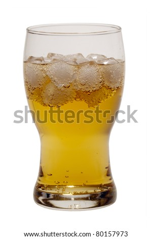 Brazilian gold guarana soft drink with ice cubes isolated on white background - stock photo