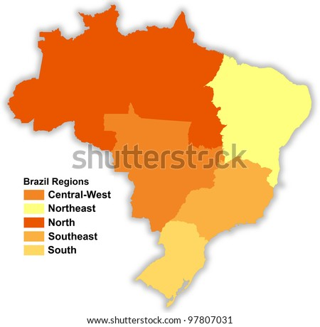Brazilian map separated in regions - stock photo