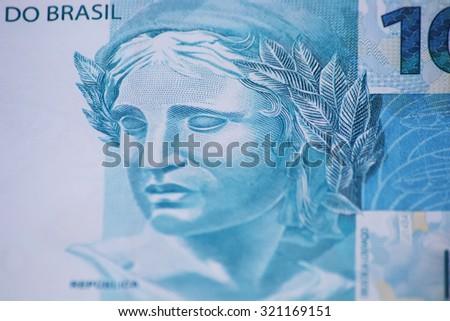 Brazilian money closeup - stock photo