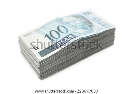 Brazilian money pile - stock photo