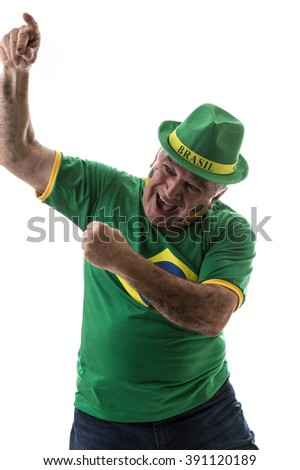 Brazilian old man fan celebrating on white background