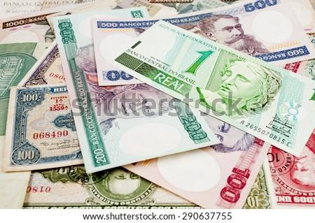 Brazilian old money background . - stock photo