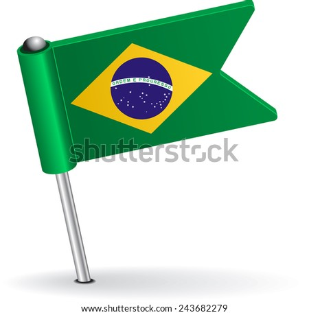 Brazilian pin icon flag. Raster version - stock photo