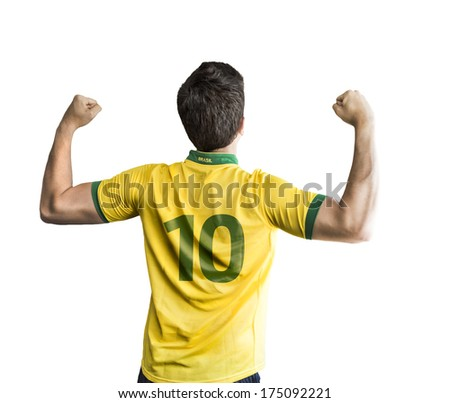 Brazilian player celebrates on white background - stock photo