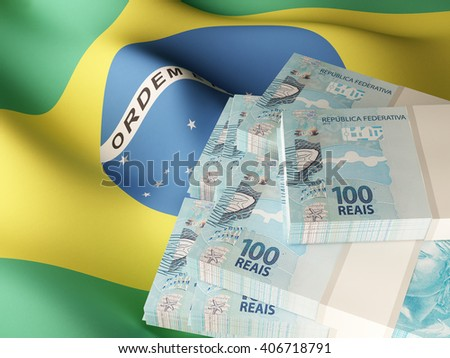 Brazilian real banknote bundles on textile textured Brazil flag. 3d illustration. - stock photo