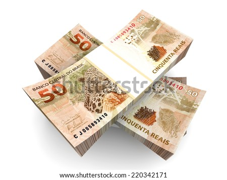 Brazilian real bills. 3D rendered Illustration. - stock photo