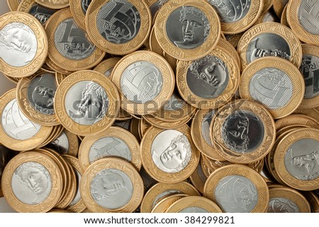 Brazilian 1 Real coins - stock photo