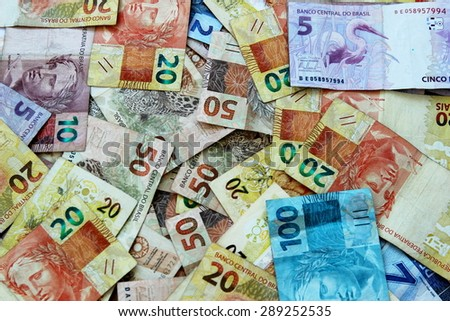 Brazilian real notes in various denominations - stock photo