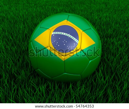 Brazilian soccer ball in grass. - stock photo