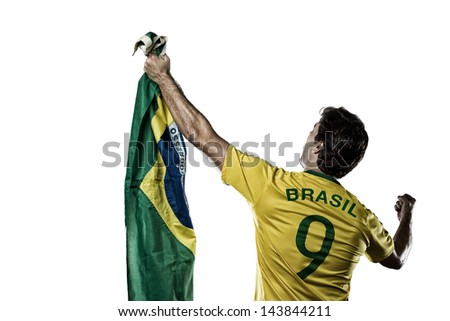Brazilian soccer player, celebrating with the fans, on a white background. - stock photo