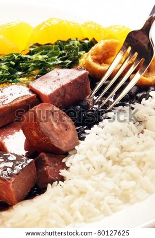 Brazilian typical food Feijoada - stock photo