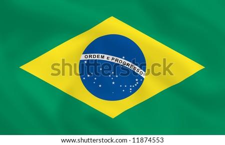 Brazilian waving flag - stock photo