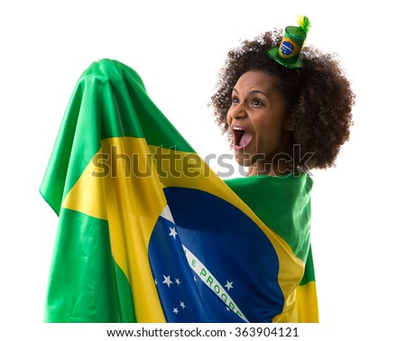 Brazilian woman holding the brazilian flag