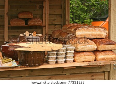 bread a slice of bread shop lard - stock photo