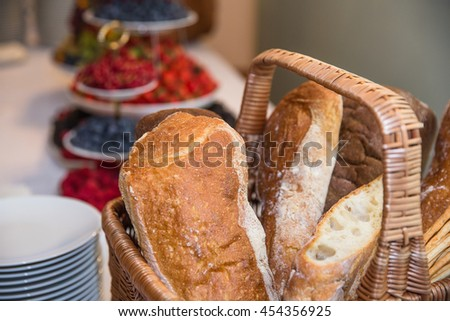 Bread and berries on the table