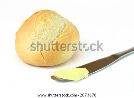 bread and butter isolated on white