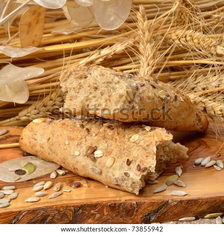 bread and cereal seeds - stock photo