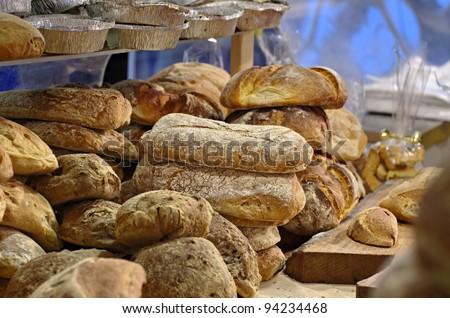 bread and focaccia - stock photo