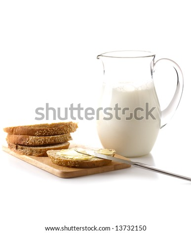 Bread and milk for breakfast