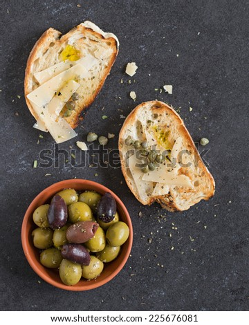 Bread And Olives. Selective Focus. - stock photo