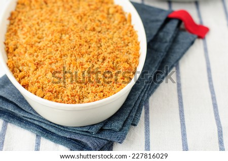Bread and Parmesan Cheese Crumble with Any Filling, copy space for your text - stock photo