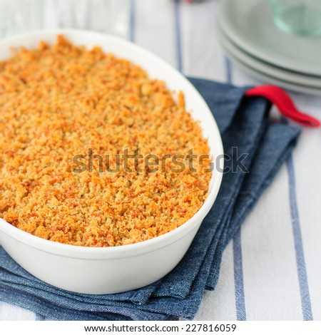 Bread and Parmesan Cheese Crumble with Any Filling, square, copy space for your text - stock photo