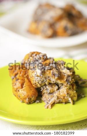 Bread and poppyseed pudding dessert - stock photo