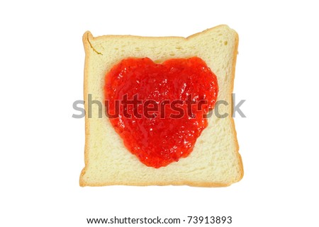 Bread and red heart shaped yam isolated on white background - stock photo
