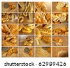 Bread and rolls collection collage - stock photo
