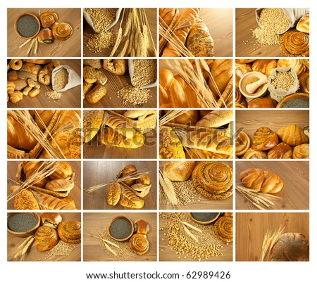 Bread and rolls collection collage