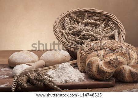 Bread and rolls with brown background