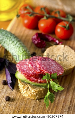 bread and  sausage - stock photo