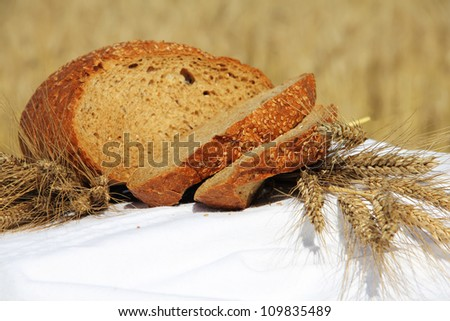 Bread and wheat outdoors natural healthy food concept - stock photo