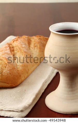Bread and wine. Copy space - stock photo