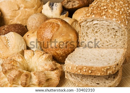 Bread assortment close up. Focus at the center. - stock photo