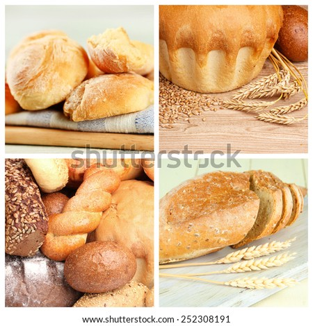 Bread assortment collage - stock photo