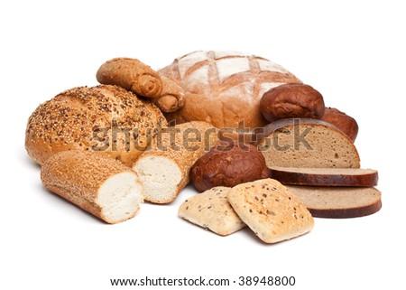 bread assortment on white - stock photo