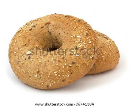 Bread. Bagel on the white background - stock photo
