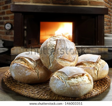 bread baked in the wood oven