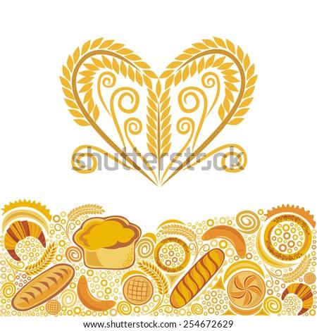 Bread bakery illustration - stock photo
