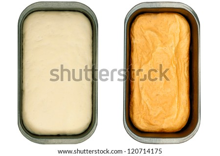 Bread baking, before oven and after - stock photo