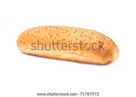 Bread bun, image is taken over a hite background. - stock photo