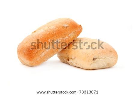 Bread bun, image is taken over a white background. - stock photo