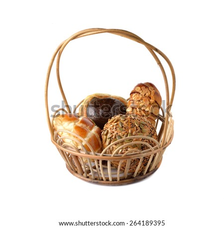 bread bun in basket on white background