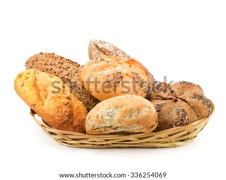 Bread buns in a basket isolated on white background - stock photo